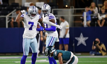 Trevon Diggs (#7) breaks up a pass for Dallas Cowboys versus Eagles