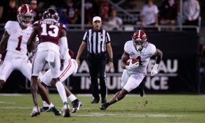 Brian Robinson runs the ball against Mississippi State