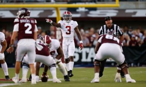Daniel Wright (#3) calling out defensive signals for Alabama versus Mississippi State