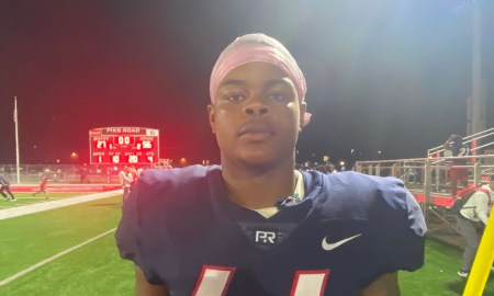 Khurtiss Perry poses for picture after Pike Road game