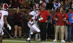 Traeshon Holden runs the football in Alabama win over Mississippi State