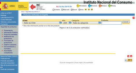 INC productos alertados
