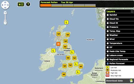 Pronóstico del polen en Gran Bretaña