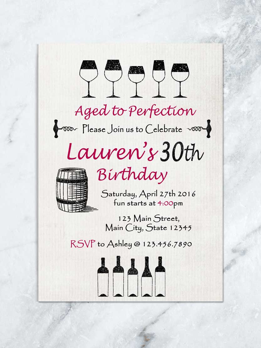 wine birthday invitation aged to perfection wine party invitation wine tasting invitation any age digital file
