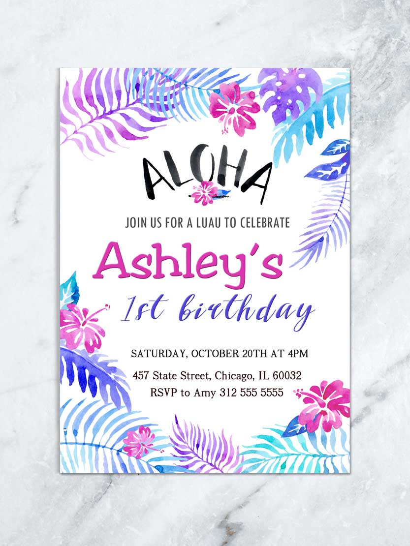 Tropical Aloha Birthday Invitation Luau Birthday