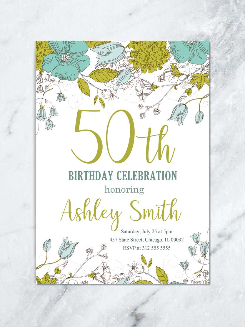 floral birthday invitation adult birthday invitation garden green and turquoise flowers birthday lunch digital file