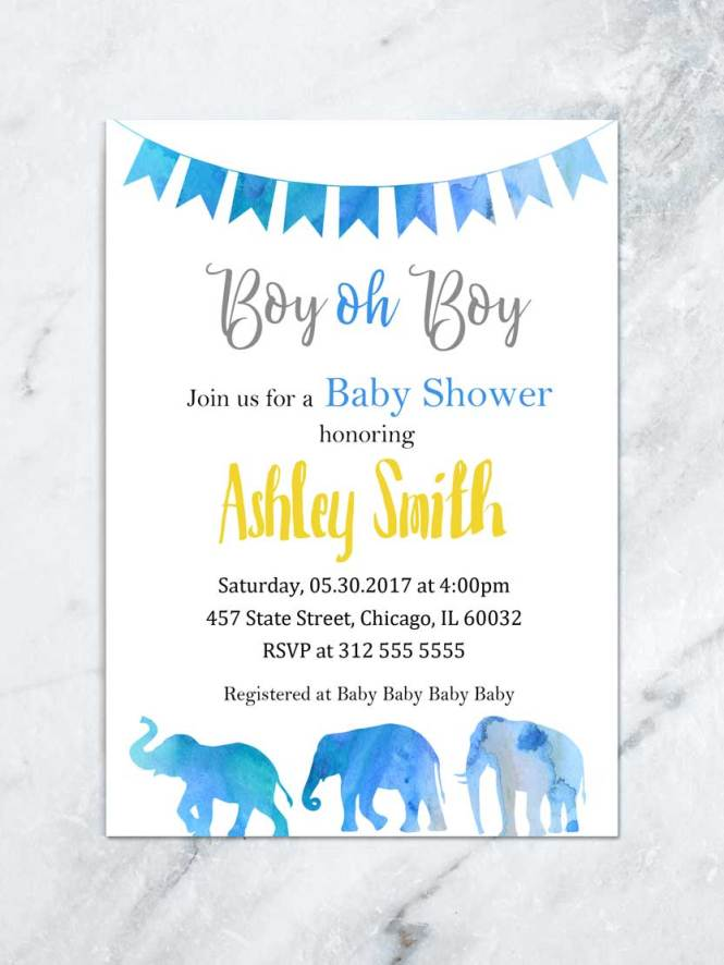 Oh Boy Elephant Baby Shower Invitation