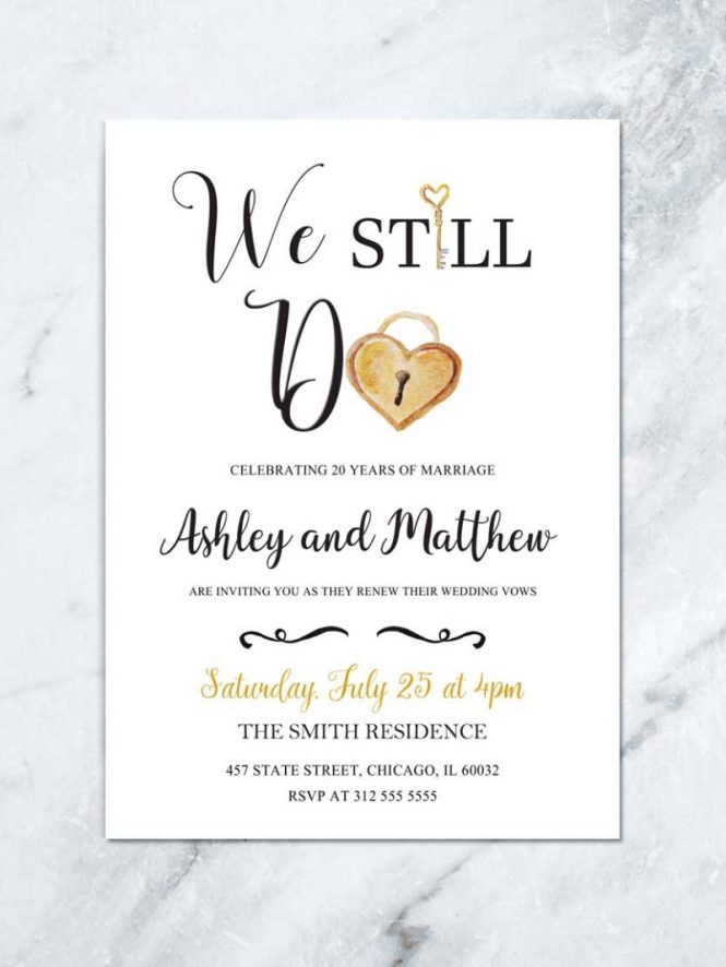 Wedding Vow Renewal Diy Printable Gold And White Anniversary Party Invitation We Still Do Invite