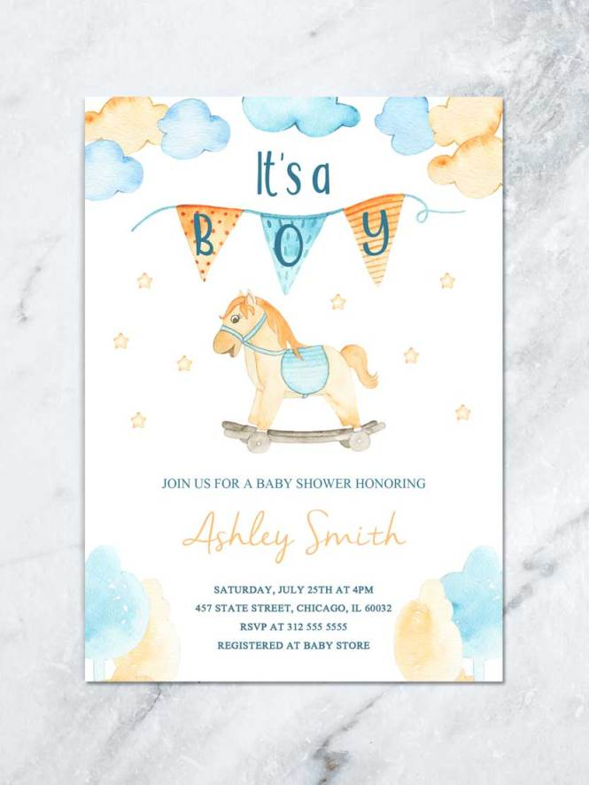 Its A Boy Baby Shower Printable Invitation With Wood Rocking Horse Blue And Yellow Invite Toy Digital File