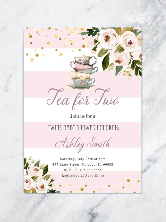 Twins Baby Shower Invitation Fl Tea For Two Party Invite