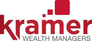 (Kramer Wealth Managers logo) Company name in red print: KRAMER. Above the 'm' (in company name) three red squares increasing in size. Below company name in black print: WEALTH MANAGERS
