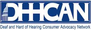 """Partial image of Capital followed by white text: """"DHHCAN"""". Blue text below """"Deaf and Hard of Hearing Consumer Advocacy Network"""""""