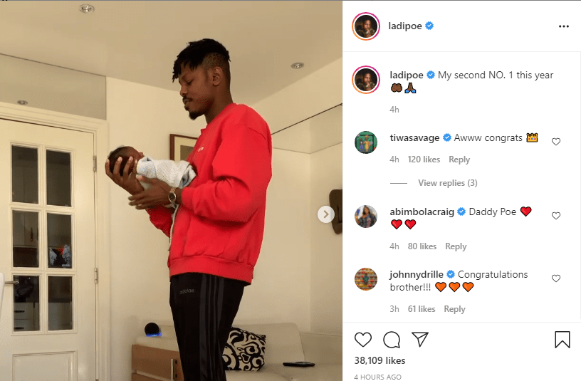 """""""My second NO. 1 this year"""" Ladipoe Welcomes Baby"""
