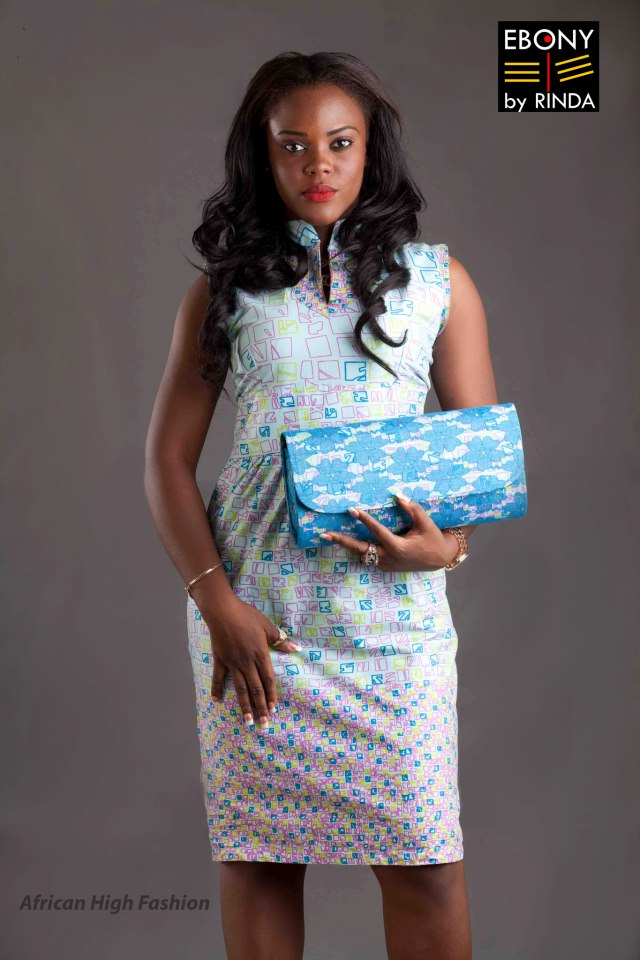 EBONY BY RINDA- Afro-Orient Mettisse dress with Lace clutch to match