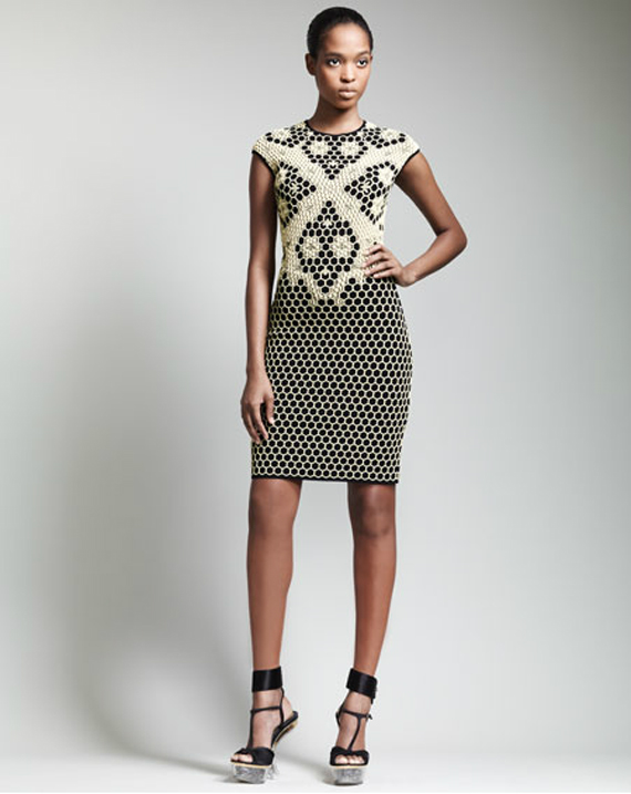 alexander-mcqueen-Short-Honeycomb-Cap-Sleeve-Dress