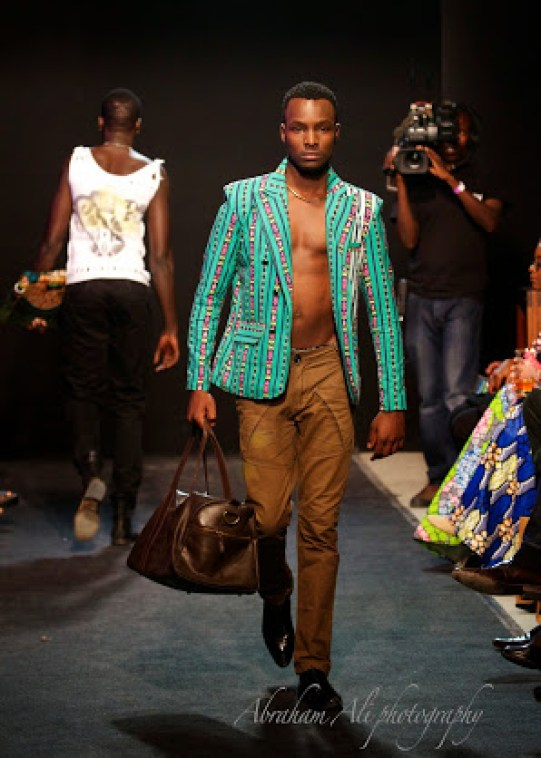 A Manciny Green Tribal Patterned Double Breast Blazer