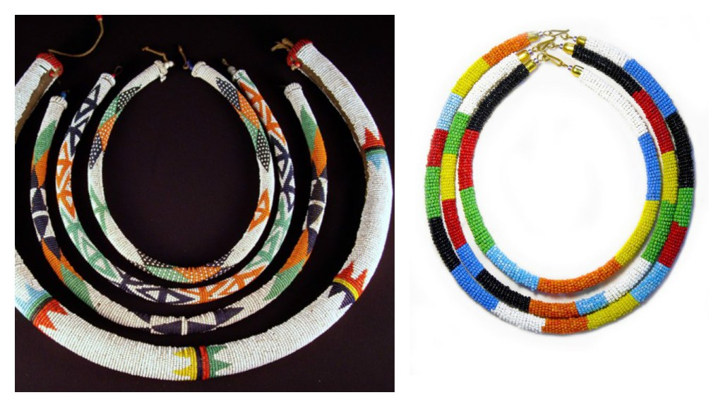 From left: Zulu beaded necklace (Image: thisbeadifulworld) Maasai Beaded necklaces (Image: skytribeshop.com)