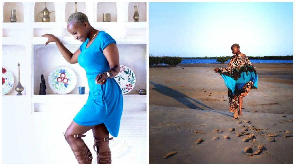 Joy Kendi in VIVO's Jersey Shirt Dress and Kaftan (Photo: Courtesy Joy Kendi / Tatiana Karanja)