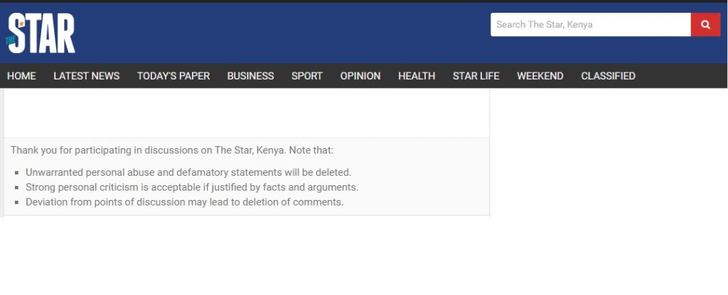 Comment terms as featured on thestar.co.ke