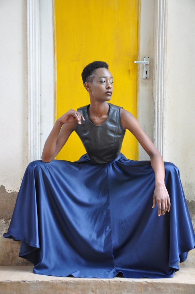 Blue Circle Skirt + Black leather scuba crop-top [Image: Courtesy of M+K Nairobi]