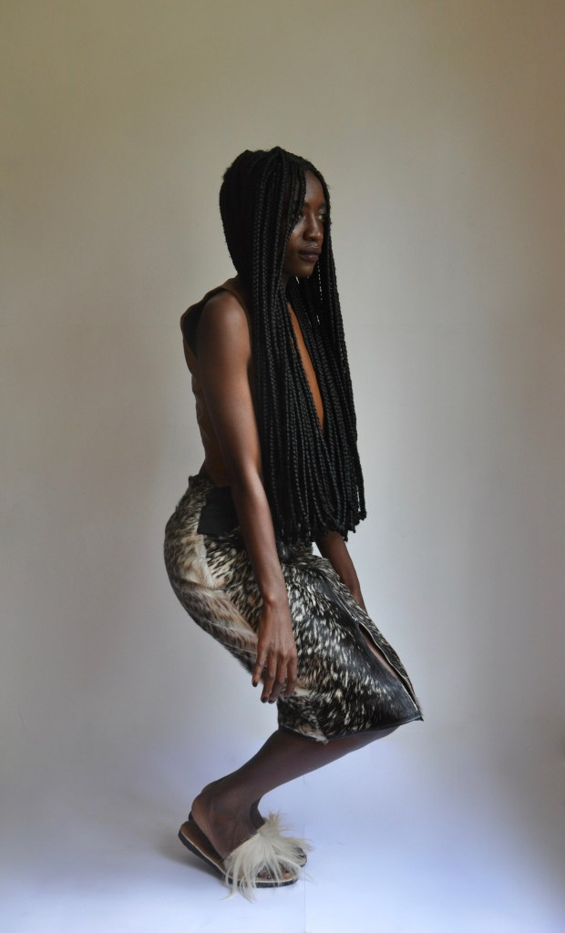 Fur Railway Skirt + Architect crop top [Image: Courtesy of M+K Nairobi]