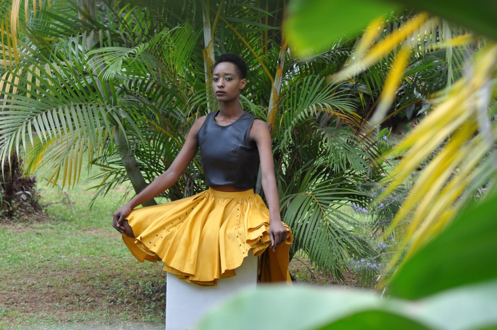 Ochre Circle Skirt + Black leather Scuba crop-top [Image: Courtesy of M+K Nairobi]