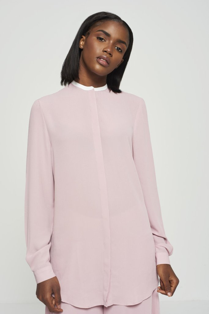 87ORIGINS Pink contrast collar blouse