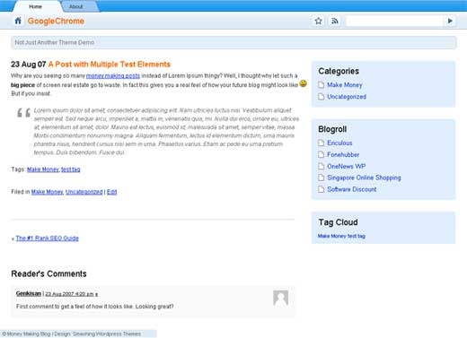 Google Chrome theme para WordPress
