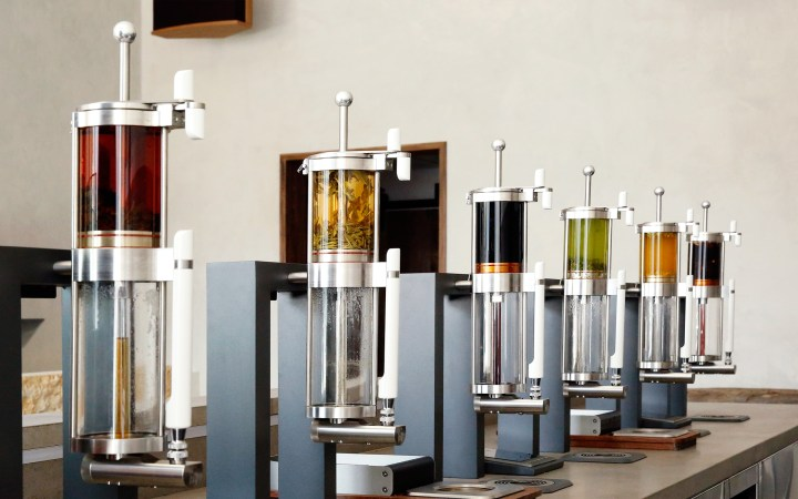 A row of infusion crucibles at Samovar Tea Bar.