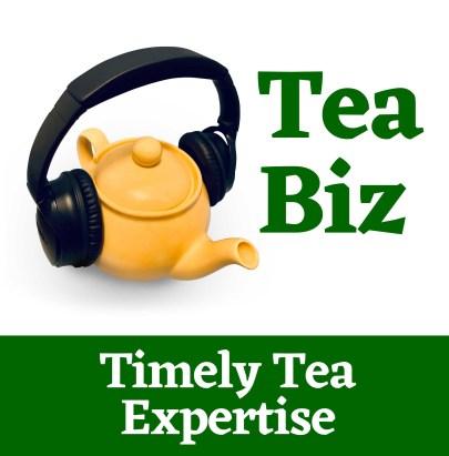 Tea Biz podcast logo: tea kettle with headphones overtop