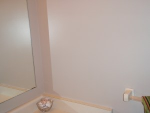 Downstairs bathroom still painted in Smores. The flash in the camera makes it looks prettier then it actually is.