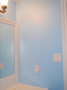 My camera doesn't give my paint justice. The blue is much brighter than this.