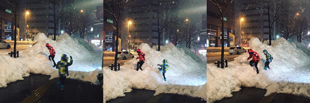 HK, kids, snow, Hokkaido, snowbanks, Japan
