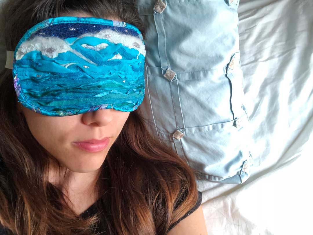 sleep mask, ocean dreams, fibre art, sleeping woman, creative project, creativity, waves