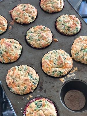 savoury, muffins, ham, cheese, spinach, baking, lunch box