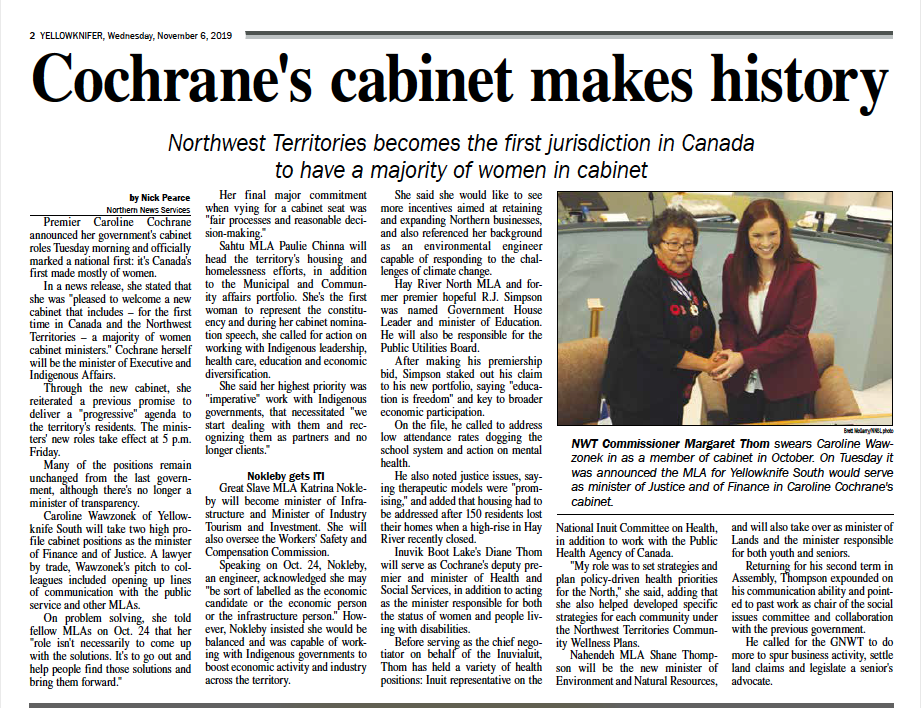 News clipping of female assembly, Headline: Cochrane's Cabinet Makes History.