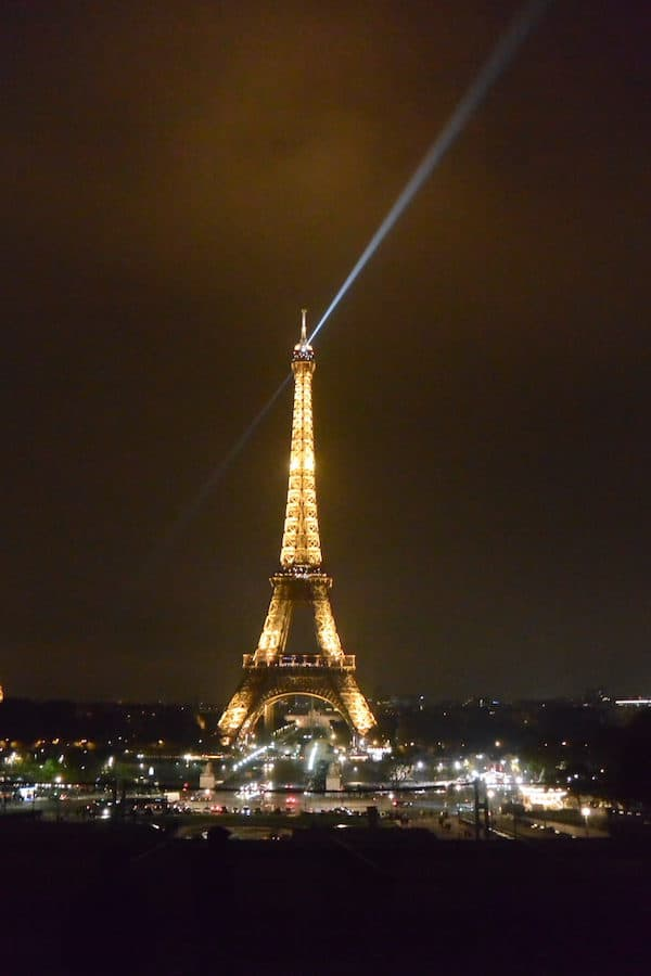Part of Myranda's Europe magic in photos: the Eiffel Tower lit up at night in Paris, France.