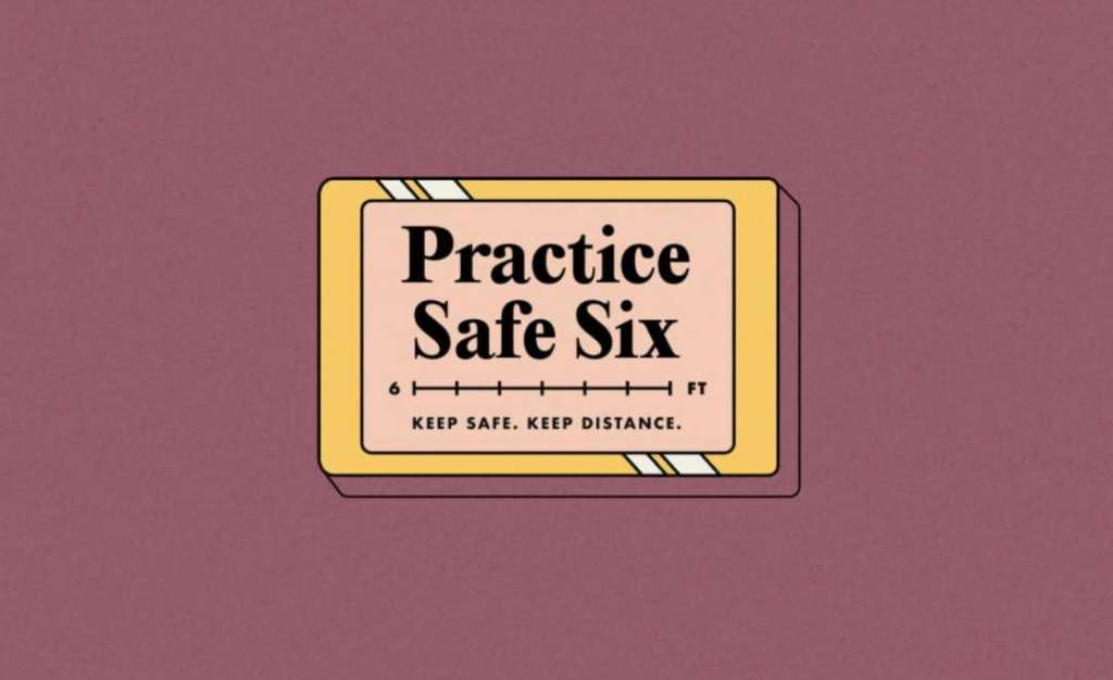 """Cartoon sign that reads """"Practice Safe Six: Keep Safe. Keep Distance"""", Covid-19 helped my fibromyalgia"""