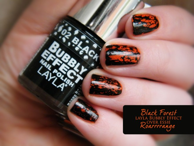Orange Nail Polish Swatches: Essie Roarrrrange Layla Bubbly Effect Black Forest