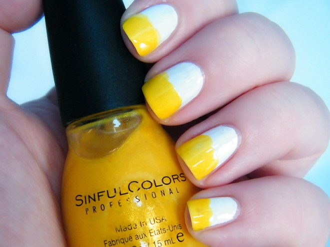 Candy Corn Halloween Nails CBBOctNails - Sinful Colors Yellow White