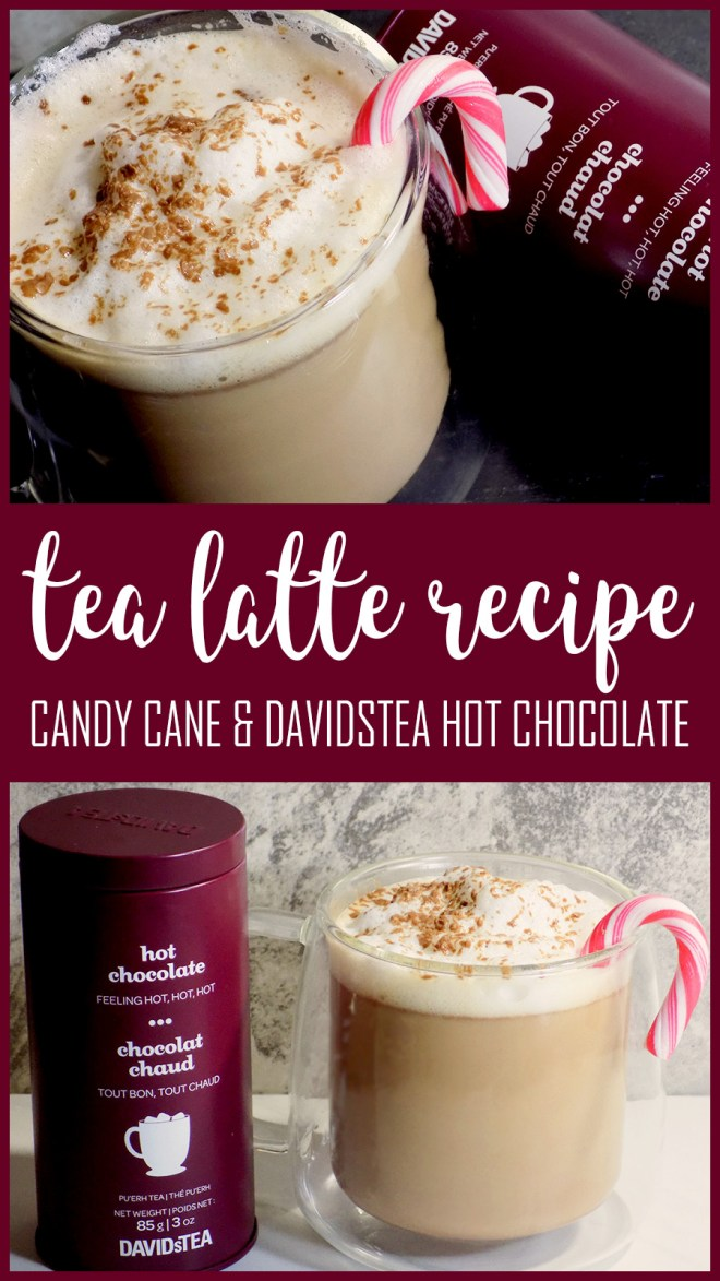 DAVIDsTEA Hot Chocolate Tea Latte Recipe - Mint Candy Cane