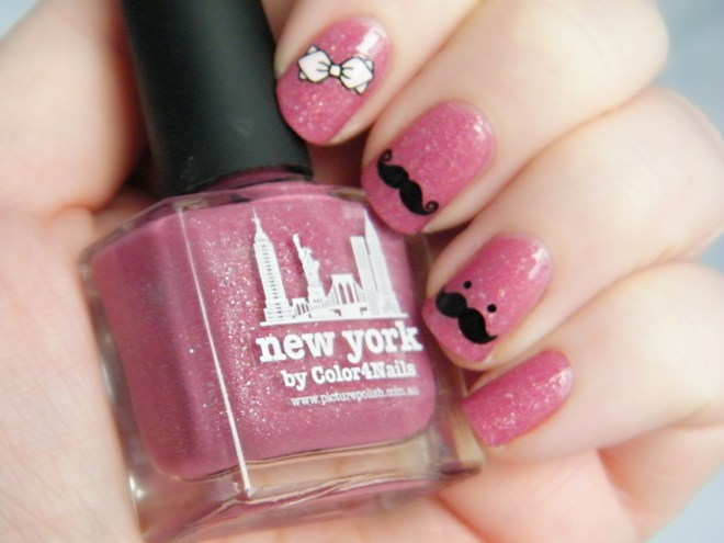 THEFACESHOP LovelyMeEx 03 Fashion Item Trend Nail Stickers Movember Mauvember Swatch over Picture Polish New York