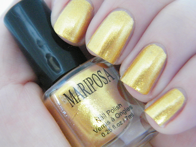 Mariposa Nail Polish Foils Dollarama yellow gold Polish swatch