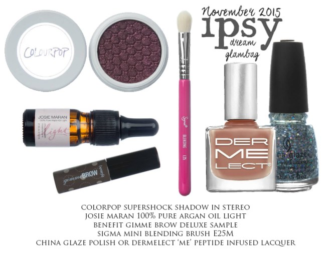 ipsy November 2015 dream glambag