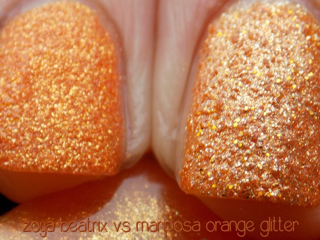 zoya beatrix pixie dust vs mariposa orange glitter dupe macros