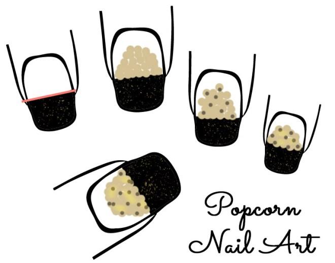 Popcorn Nail Art Design