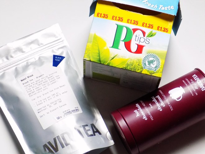Tea Tag Faves Davidstea Nepal Black, Hot Chocolate and PG Tips Brit Style Teas