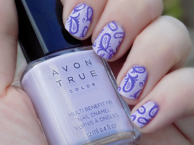 Avon True Color BB Nail Enamel Lilac Love stamped with MDU Fantasy Swatch Shade
