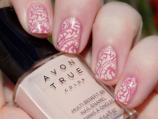 Avon True Color BB Nail Enamel Perfect Pink stamped with MDU Merry Swatch Sunlight