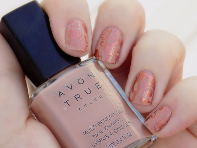 Avon True Color BB Nail Enamel Restoring Beige Stamped with MDU Copper in Shade